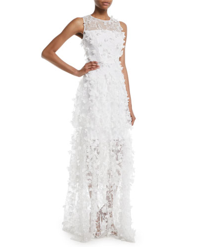 Siena Sleeveless 3D Embroidered Tulle Gown
