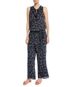 Paletta Floral-Print Sleeveless Ruffle Jumpsuit