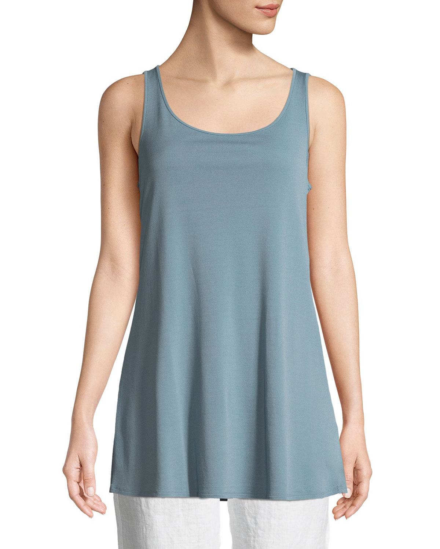Long Silk/Cotton Interlock High-Low Shell, Petite