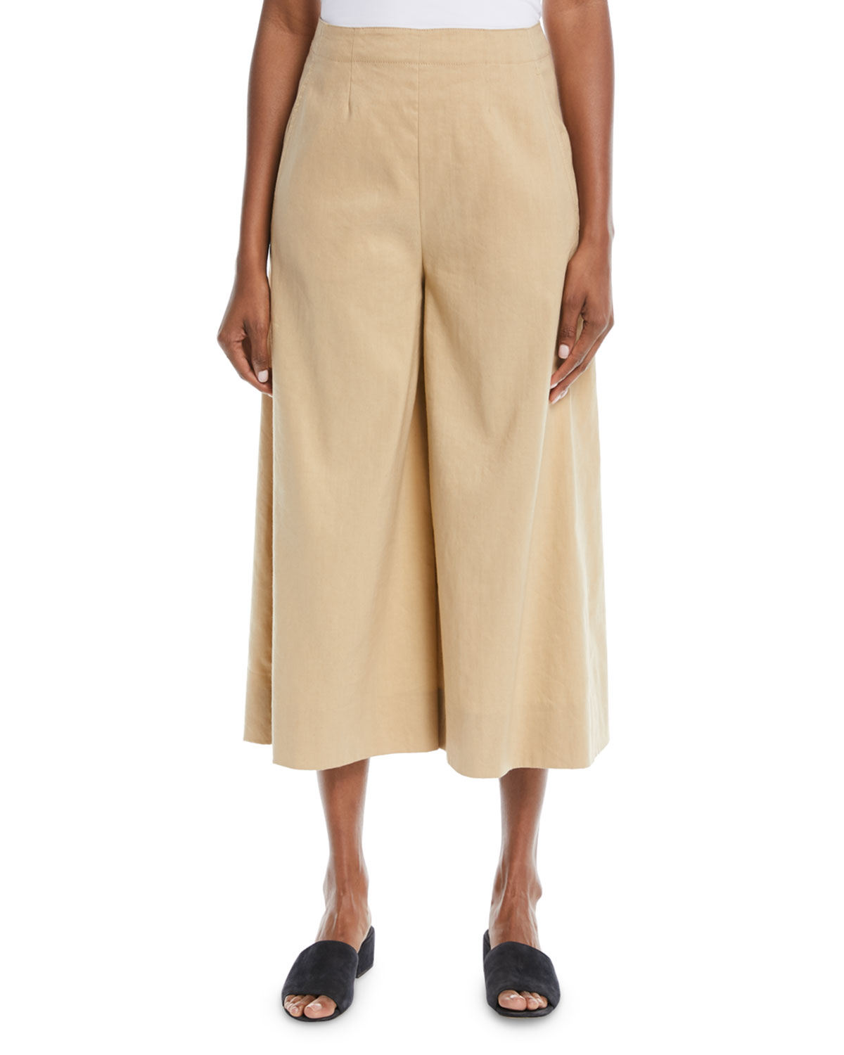 High-Waist Stretch-Linen Ankle Culotte Pants