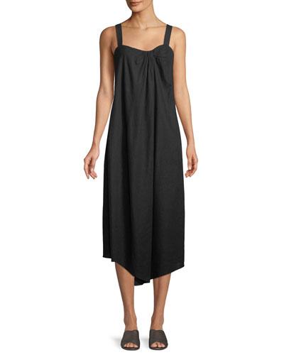 Draped Sleeveless Midi Dress