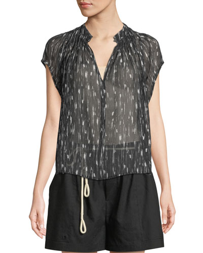 Brushstroke Flutter-Sleeve Silk Top