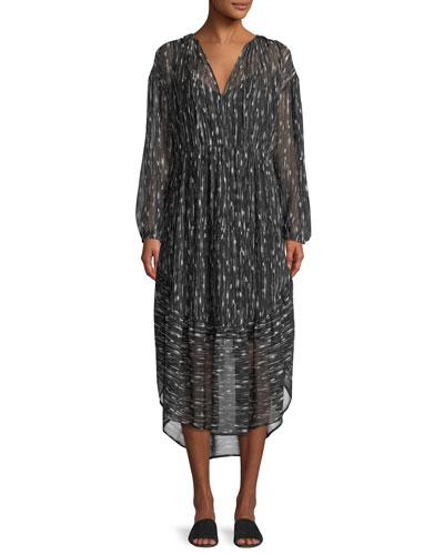 Brushstroke Shirred Silk Shift Dress