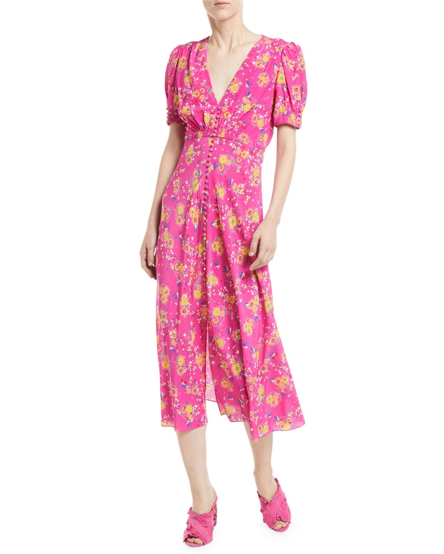 Lea Floral-print Silk Crepe De Chine Midi Dress - Fuchsia Saloni DtveLmkGY
