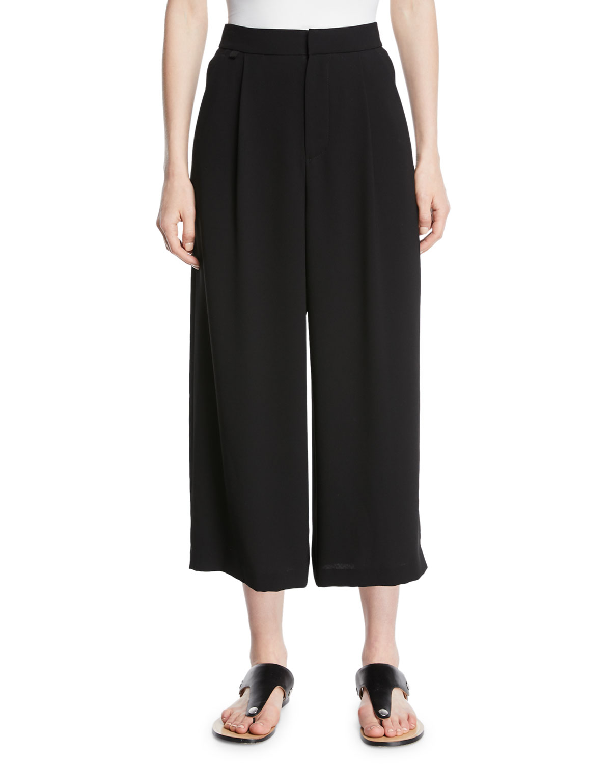 High-Waist Pleated Ankle Culotte Pants