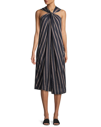 Textured Stripe Twist-Front Halter Dress
