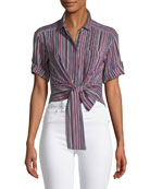 Sassy Stripe Self-Tie Silk Top