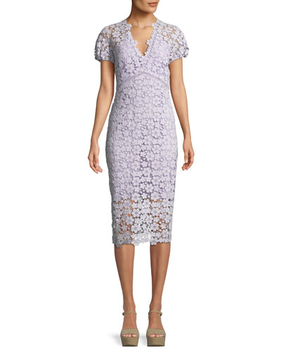 Paulina V-Neck Floral Lace Dress