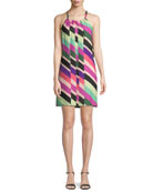 Rancho Wind Chimes Striped Silk Mini Dress