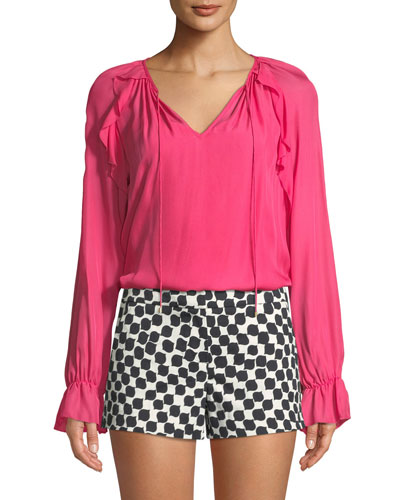 Long-Sleeve Ruffle-Trim Top