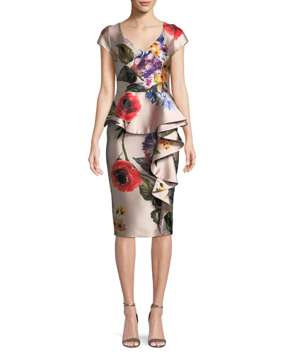 Floral V-Neck Asymmetric Ruffle Dress