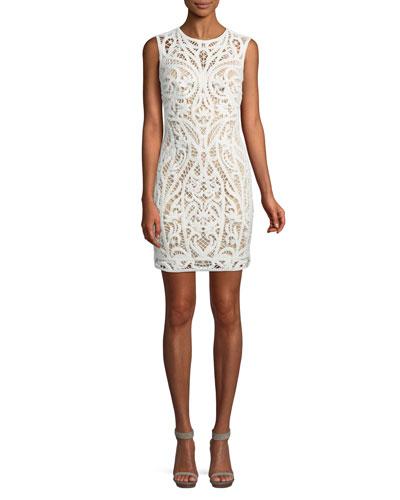 Lace Appliqué Sheath Mini Dress