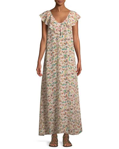Reen Butterfly-Print Ruffle Maxi Dress