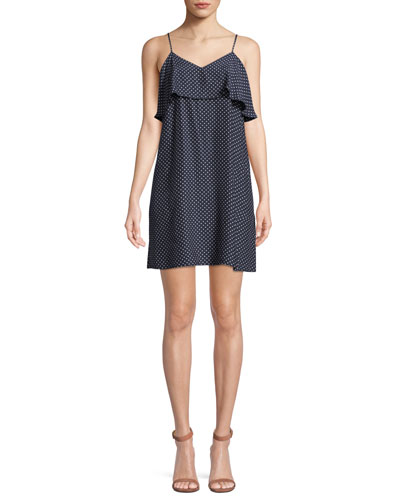 Strappy Polka-Dot Silk Flounce Mini Dress