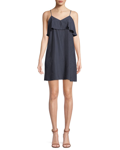 ATM Anthony Thomas Melillo Strappy Polka-Dot Silk Flounce Mini Dress
