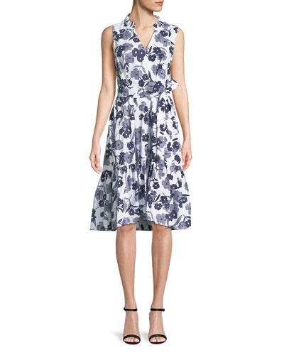 shadows poplin sleeveless floral-print midi dress