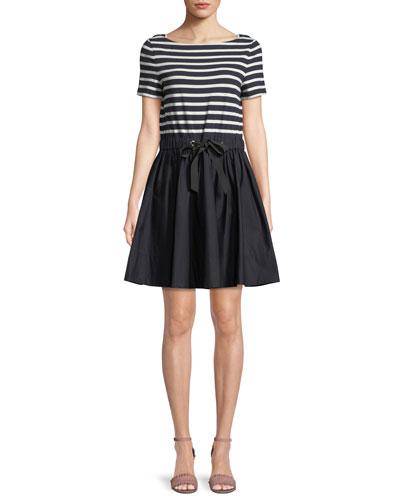stripe mixed media mini dress