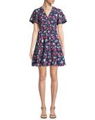 daisy eyelet short-sleeve mini dress