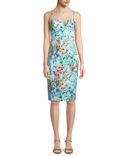 Clover Printed Sheath Slip Dress in