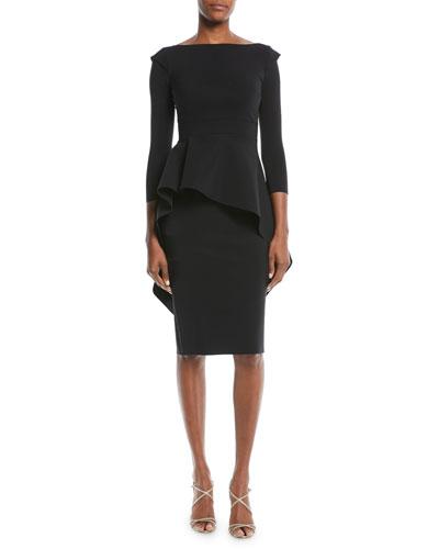 Quiggley Long-Sleeve Peplum Dress