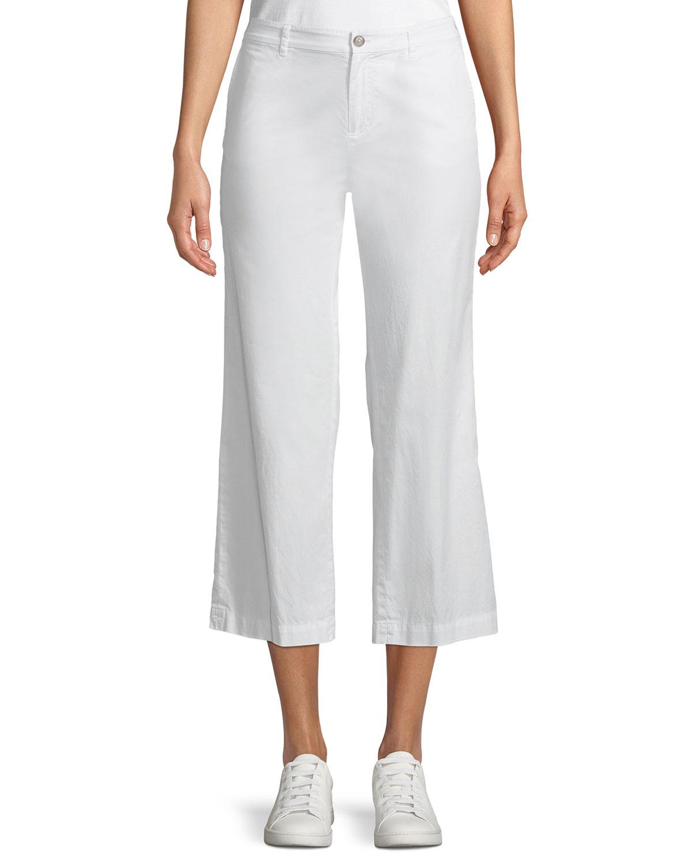 Cropped Straight-Leg Poplin Pants