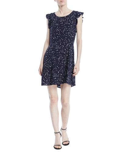 Dolores Crewneck Sleeveless Cutout-Back Dot-Print Mini Dress
