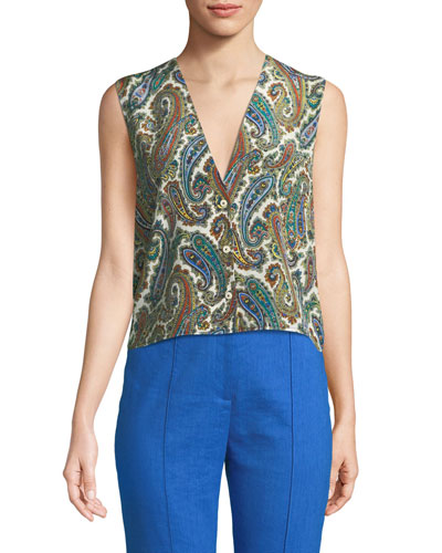 2279ffe4524a36 Quick Look. Diane von Furstenberg · Paisley-Print Silk Sleeveless Top