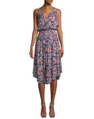 Sleeveless Floral Smocked-Waist Midi Dress