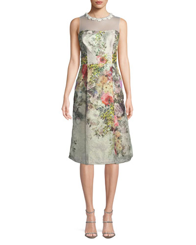 Floral Jacquard Sleeveless Dress w/ Illusion Neck
