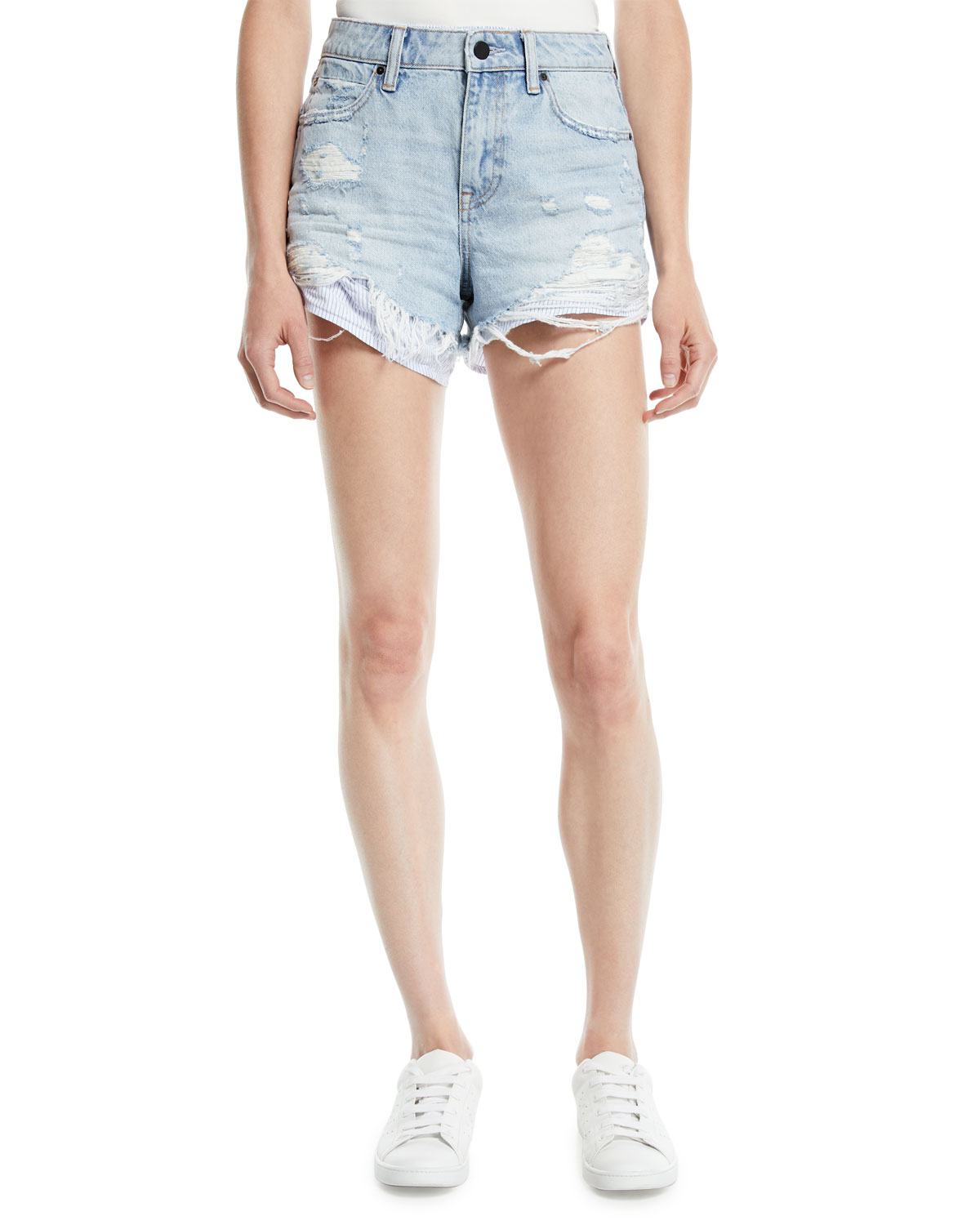 Bite-Mix Bleached Cutoff Denim Shorts w/ Heavy Destruction