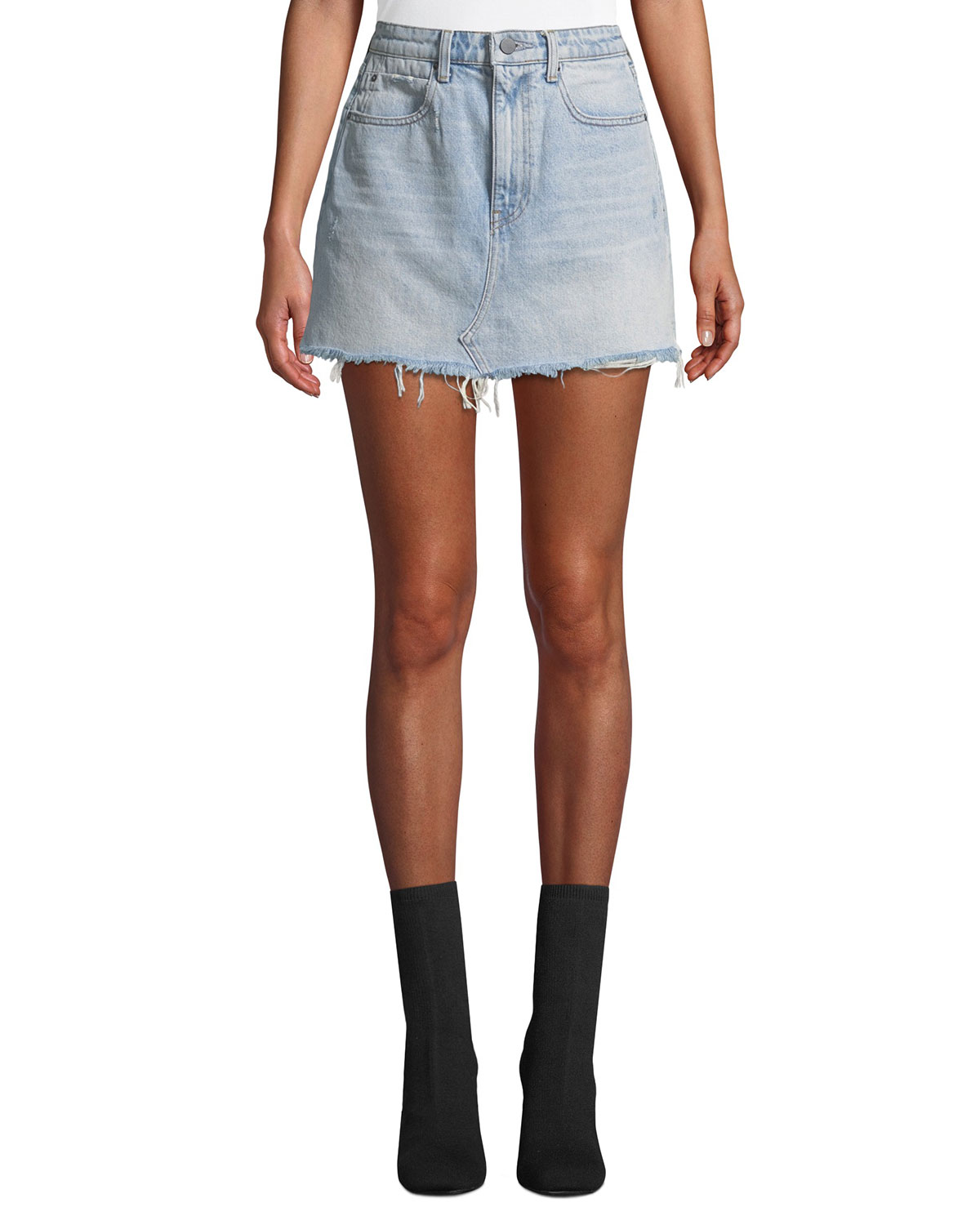 Bite High-Rise Frayed Denim Mini Skirt