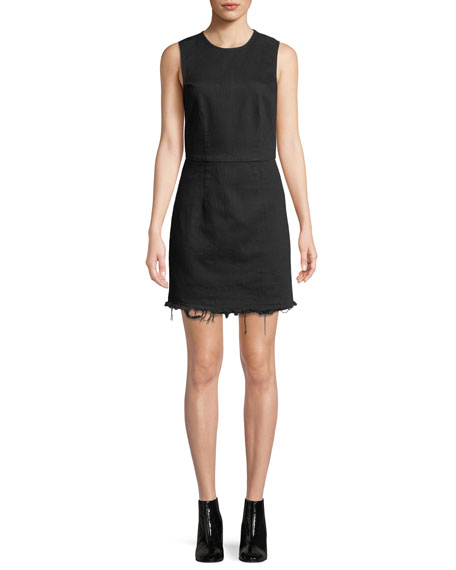 alexanderwang.t Frayed Twill Sleeveless Mini Dress