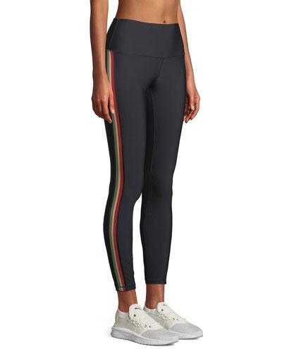 High-Waist 7/8-Length Side-Stripe Leggings