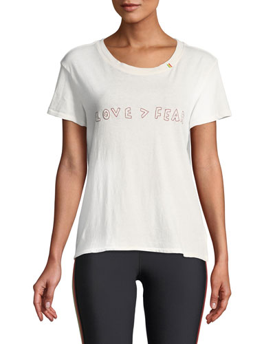 Love Is Greater Than Fear Classic Embroidered Scoop-Neck Tee