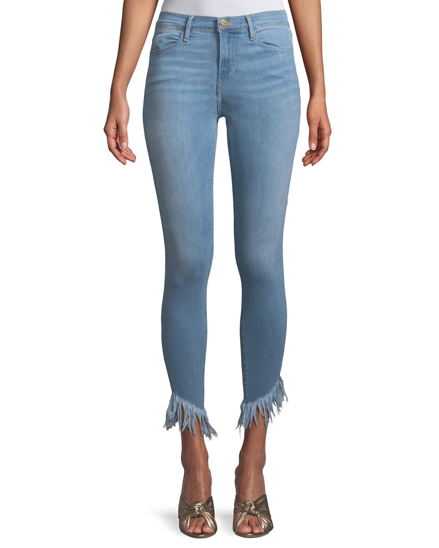 Le High Skinny Jeans with Shredded Hem
