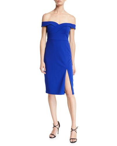 Off-the-Shoulder Scuba Crepe Cocktail Dress