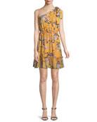 Carmela Floral Silk One-Shoulder Dress