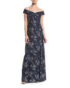 Off-the-Shoulder Brocade Gown