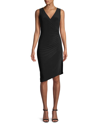 MJ Sleeveless V-Neck Dress w/ Draped Side