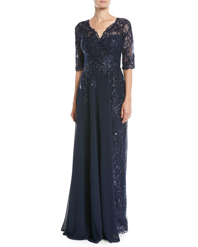 Lace Gown w/ Chiffon Overlay Skirt