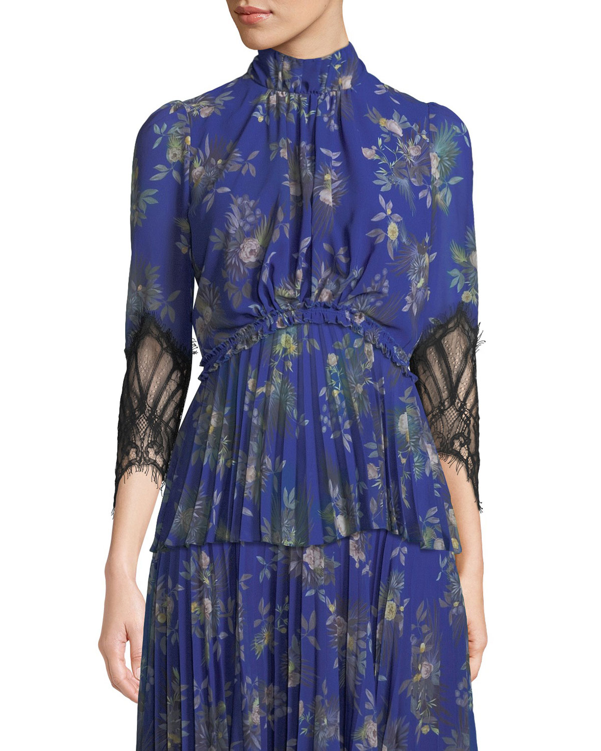 CAMILLA AND MARC STANWYCK PEONY-PRINT TOP W/ LACE SLEEVES