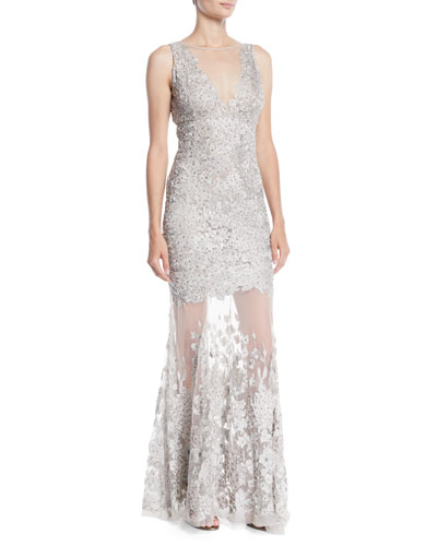 Larsa Lace Illusion Mermaid Gown
