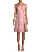 Off-the-Shoulder Brocade Cocktail Dress
