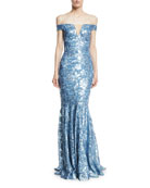 Sequin Embellished Off-the-Shoulder Gown