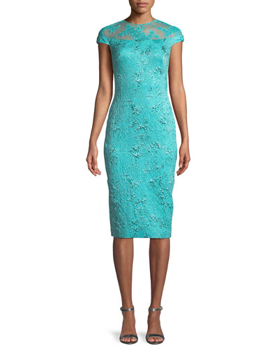 Metallic Illusion-Yoke Sheath Dress