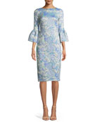 Tissue Cloqué Bell-Sleeve Dress