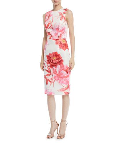 Large-Scale Floral Sheath Dress