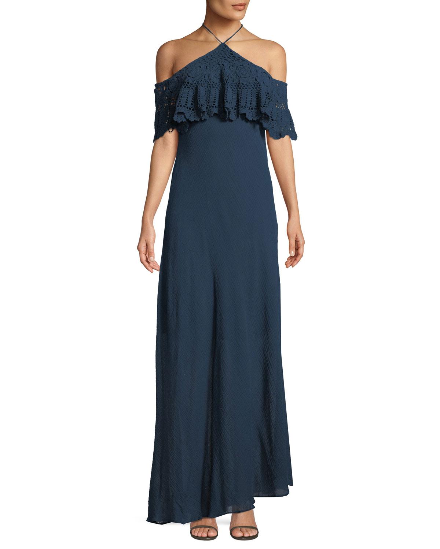 Pudina Crochet Halter Maxi Dress