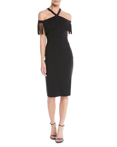 Ema Fringe Crisscross Cocktail Dress