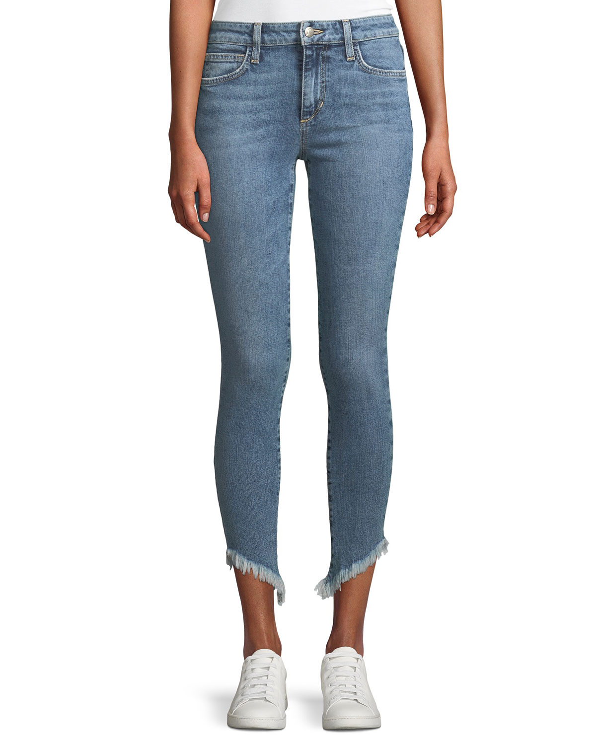 Marcela Icon Ankle Skinny Jeans with Diagonal Fray Hem